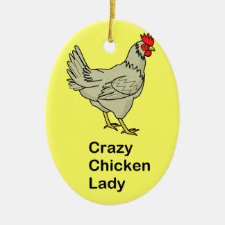 Señora loca del pollo ornamentos para reyes magos