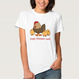 Señora loca del pollo playeras
