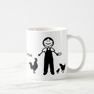 Señora loca del pollo taza de café