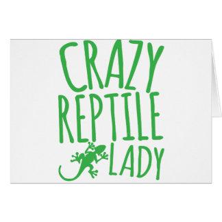 señora loca del reptil tarjeta de felicitación