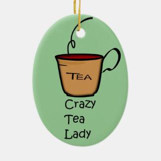 Señora loca del té adorno