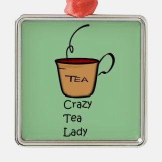 Señora loca del té adorno de reyes