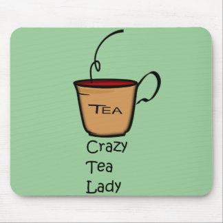 Señora loca del té tapete de raton