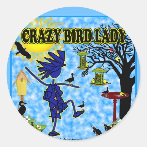Señora loca Design del pájaro Etiquetas Redondas