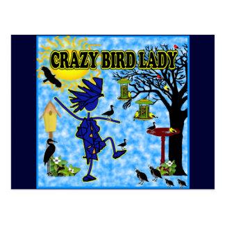 Señora loca Design del pájaro Postales