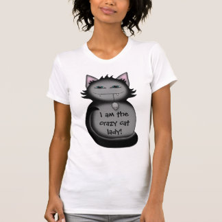Señora loca divertida del gato del gato sombrío remeras