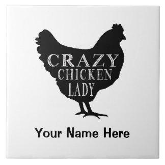 Señora loca divertida Hen del pollo Azulejo Cuadrado Grande