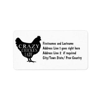 Señora loca divertida Poultry Lover del pollo Etiqueta De Dirección