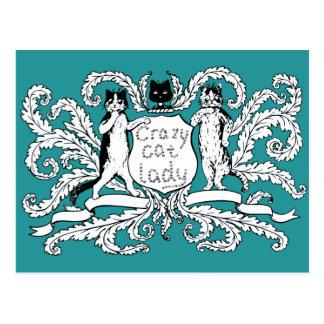 Señora loca escudo de armas del gato tarjetas postales