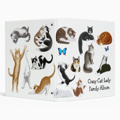 "Señora loca Family Album Binder del gato Carpeta 1"""