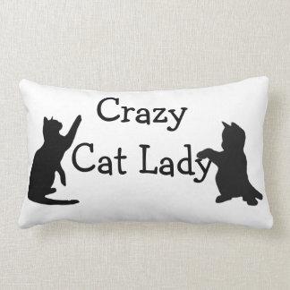 Señora loca Fun Animal Art del gato Cojín