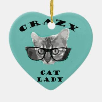 Señora loca Funny Slogan del gato con los vidrios Adorno Navideño De Cerámica En Forma De Corazón
