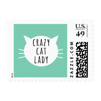 Señora loca Funny White Whiskers del gato Estampilla