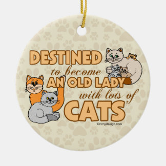 Señora loca futura Funny Saying Design del gato Adorno Navideño Redondo De Cerámica