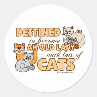 Señora loca futura Funny Saying Design del gato Pegatina Redonda