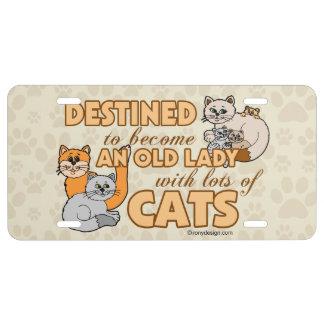 Señora loca futura Funny Saying Design del gato Placa De Matrícula