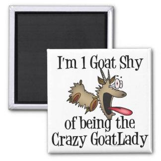 Señora loca GetYerGoat de la cabra Imán Cuadrado