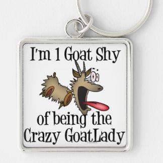 Señora loca GetYerGoat de la cabra Llavero Cuadrado Plateado