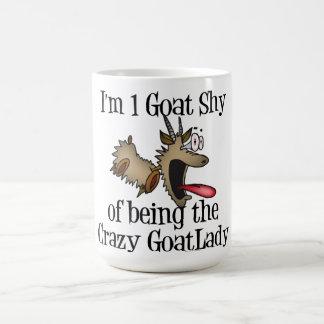 Señora loca GetYerGoat de la cabra Taza Básica Blanca