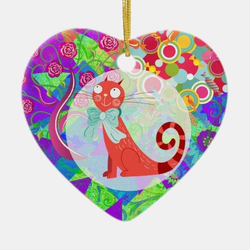 Señora loca Gifts Vibrant Colorful del gato del ga Ornamentos Para Reyes Magos