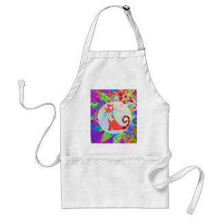 Señora loca Gifts Vibrant Colorful del gato del ga Delantal