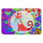 Señora loca Gifts Vibrant Colorful del gato del ga Iman