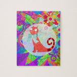 Señora loca Gifts Vibrant Colorful del gato del ga Puzzle