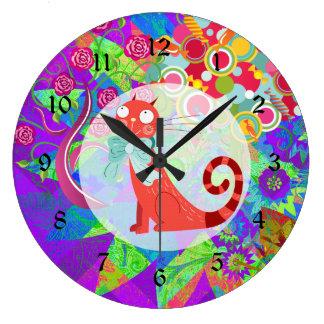 Señora loca Gifts Vibrant Colorful del gato del ga Reloj