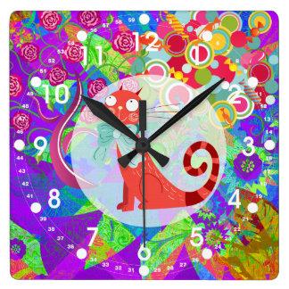 Señora loca Gifts Vibrant Colorful del gato del ga Reloj De Pared