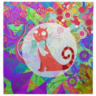 Señora loca Gifts Vibrant Colorful del gato del ga Servilletas
