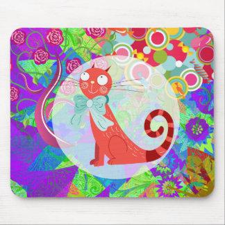 Señora loca Gifts Vibrant Colorful del gato del ga Tapetes De Ratones