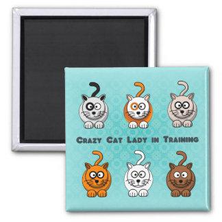 Señora loca In Training Magnet del gato Imán Cuadrado