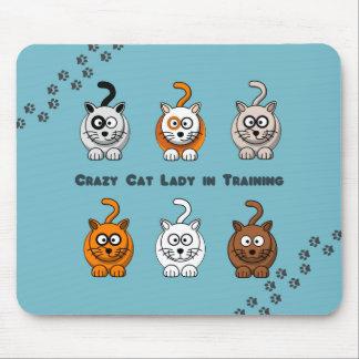 Señora loca In Training Mousepad del gato Tapete De Ratón