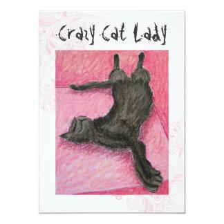 Señora loca Indie Birthday Invites del gato Anuncios