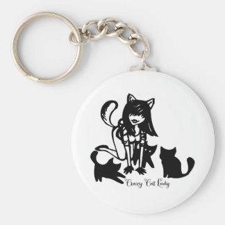 Señora loca Keychain del gato Llavero Personalizado