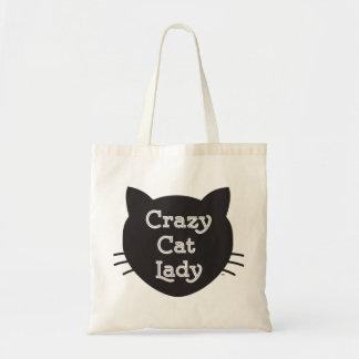 Señora loca la bolsa de asas del gato