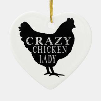 Señora loca linda del pollo adorno navideño de cerámica en forma de corazón