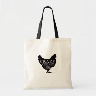 Señora loca linda del pollo bolsa tela barata