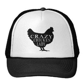 Señora loca linda del pollo gorras de camionero
