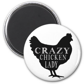 Señora loca linda del pollo imán redondo 5 cm
