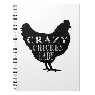 Señora loca linda del pollo libros de apuntes con espiral