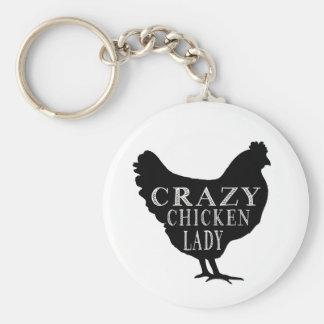 Señora loca linda del pollo llavero redondo tipo pin