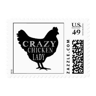 Señora loca linda del pollo timbres postales
