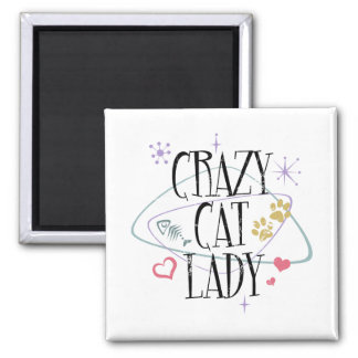 Señora loca Magnet del gato del estilo retro Imán Cuadrado