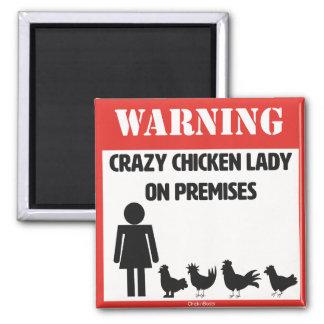 Señora loca Magnet del pollo Imán Cuadrado