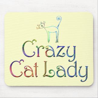 Señora loca Mousepad del gato Tapete De Ratón