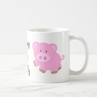 Señora loca Mug del cerdo Taza Básica Blanca