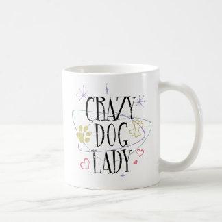 Señora loca Mug del perro del estilo retro Taza Clásica