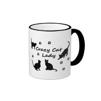 Señora loca Mugs del gato Taza De Café