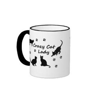 Señora loca Mugs del gato Taza De Dos Colores